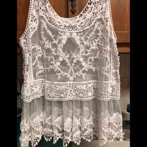 Lace over lay top. I have this is WHITE AND CREAM